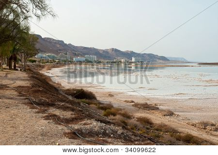 View Of The Hotels In Dead Sea Israel Coastline