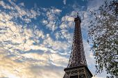 View On Eiffel Tower In Paris In Sunset. Sunset In Paris. Stunning Eiffel Tower In Paris. Vacation I poster