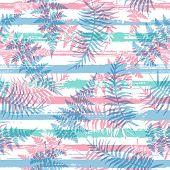 Jungle New Zealand Fern Frond And Bracken Grass Over Painted Stripes Seamless Pattern Design. Bali J poster