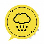 Black Cloud With Rain Icon Isolated On White Background. Rain Cloud Precipitation With Rain Drops. Y poster