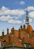 Medieval Castle Roof Isolated Over Sky Background poster