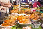 Street Foods Of Thailand, Foods Stylegrilled Seafood Feast For The Party At Night Market Bangkok Of  poster