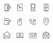 Contact Us Outline Vector Icon Set Isolated On White Background. Contact Us Line Icons For Web And U poster