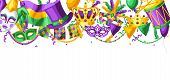 Mardi Gras Party Greeting Or Invitation Card. Carnival Background For Traditional Holiday Or Festiva poster