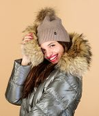 Confidence And Femininity. Be Stylish This Winter. Emotional Woman In Jacket. Winter Outfit. Enjoyin poster