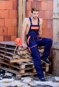 Sexy Laborer. Building Construction. Worker Brick Wall Background. Man Build Own House. Perform Basi poster