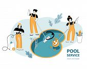 Template For A Web Banner Or Landing Page. Swimming Pool Service Worker With Net Cleaning Water. Poo poster