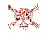 foto of cybercrime  - Tag cloud of internet dangers concept with skull shape - JPG