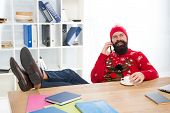 Christmas Offer. Bearded Man Communicate With Customer. Mobile Phone Communication. Business Communi poster