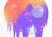 Cosmos Background With Abstract Holographic Landscape And Future Universe. Liquid Mountain Silhouett poster