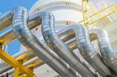 Heating Medium Oil Pipeline Protected With Stainless Steel Insulation For Keep Temperature Form Envi poster