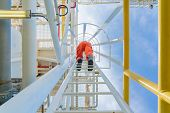 Offshore Oil Rig Operator Climbs Up To The Top Of Gas Processing Plant For Check Abnormal Condition  poster