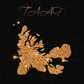 Taaf Map Filled With Golden Glitter. Luxurious Design Element, Vector Illustration. poster