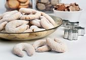 foto of crescent-shaped  - Crescents vanila and almond cookies - JPG