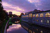 Night Lights Landscape Of Ljubljana. Kresija Building In Old Town. Famous Dragon Bridge (zmajski Mos poster
