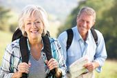 picture of heterosexual couple  - Senior couple on country walk - JPG