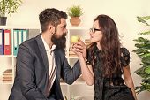 Couple Coworkers Relax Lunch Break. Share Lunch With With Colleague. Flirting Colleagues. Bearded Ma poster