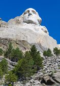 pic of mount rushmore national memorial  - George Washington face on Mount Rushmore National Memorial - JPG