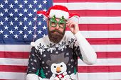 New Year Tradition In America. Bearded Man On American Flag. Celebrate Xmas And New Year In Patrioti poster
