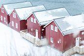 Beautiful northern Scandinavian Lofoten in winter poster