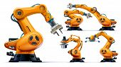 Automated Orange Robotic Arms Or Industry 3d Manipulator Positioner Isolated On White Background. Hy poster