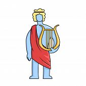 Apollo, Ancient Greek God Of Archery, Music, Poetry And The Sun With Lyre. Mythology. Flat Vector Il poster