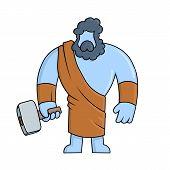 Hephaestus, Ancient Greek God Of Blacksmith And Fire. Mythology. Flat Vector Illustration. Isolated  poster