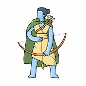 Artemis, Ancient Greek Goddess Greek Of The Hunters And The Moon. Mythology. Flat Vector Illustratio poster
