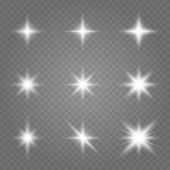 Glowing Lights Effect, Flare, Explosion And Stars. Set Of White Glowing Lights Effects Existing On A poster