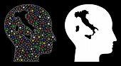 Flare Mesh Italian Thinking Icon With Glow Effect. Abstract Illuminated Model Of Italian Thinking. S poster