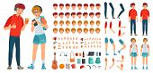 Teenager Character Constructor. Teenage Boy, Young Girl Character Creation Bundle And Teenagers Coup poster