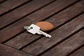 Hotel Suite Key With Wooden Fob For Room On Wood Table. Room Key On Wood Texture And Background. Sil poster