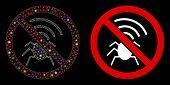 Glossy Mesh No Radio Bugs Icon With Glare Effect. Abstract Illuminated Model Of No Radio Bugs. Shiny poster