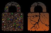 Bright Mesh Rust Lock Icon With Lightspot Effect. Abstract Illuminated Model Of Rust Lock. Shiny Wir poster