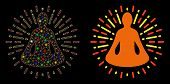 Flare Mesh Yoga Meditation Icon With Glare Effect. Abstract Illuminated Model Of Yoga Meditation. Sh poster