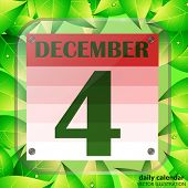 December 4 Icon. Calendar Date For Planning Important Day With Green Leaves. Fourth Of December. Ban poster