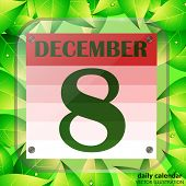 December 8 Icon. Calendar Date For Planning Important Day With Green Leaves. December 8th. Banner Fo poster