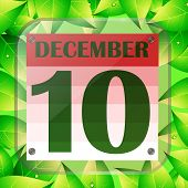 December 10 Icon. Calendar Date For Planning Important Day With Green Leaves. Tenth Of December. Ban poster