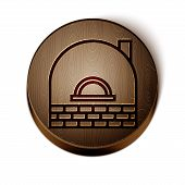 Brown Line Brick Stove Icon Isolated On White Background. Brick Fireplace, Masonry Stove, Stone Oven poster