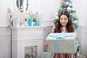 Theres No Surprise Bigger. Surprised Child. Little Girl Hold Surprise Box. Happy Kid Celebratexmas A poster