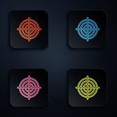 Color Neon Line Target Sport For Shooting Competition Icon On Black Background. Clean Target With Nu poster