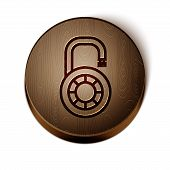 Brown Line Safe Combination Lock Wheel Icon Isolated On White Background. Combination Padlock. Secur poster