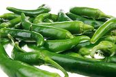 herbs : A pile of spicy green hot chili peppers over white background poster