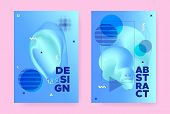 Blue Hipster Memphis Brochure. Vector Fluid Shape. Wave Banner. Summer Business Template. Hipster Me poster