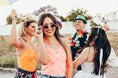 Brazilian Carnival. Brazilian Woman In Costume And Sunglasses Celebrating The Carnival Party In The poster