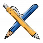 Pencil And Pen Icon. Vector Illustration Of A Pen With A Pencil. Hand Drawn  Pen And Pencil. poster