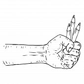 Male Hand Holds A Pen And Pencils Icon. Vector Illustration Of A Pen With Pencils In Hand. Hand Draw poster