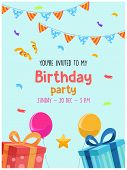 Kids Birthday Invitation Card. Cute Invitation Template For A Kids Birthday Party. With Lettering On poster