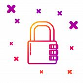 Color Line Safe Combination Lock Icon Isolated On White Background. Combination Padlock. Security, S poster