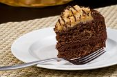 foto of chocolate fudge  - Delicious German Chocolate Fudge Cake with Coconut Topping on a White Plate - JPG